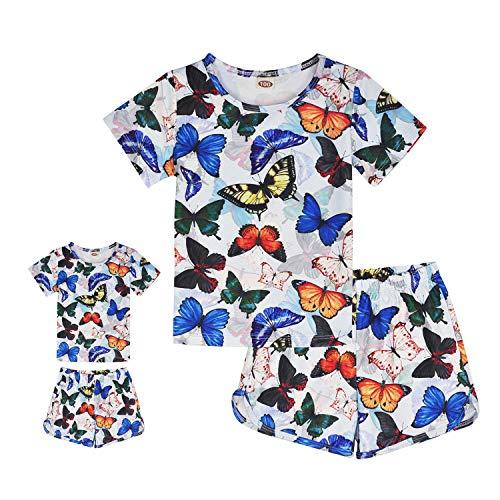 - ModaIOO Matching Dolls & Girls Pajamas Butterfly Short Sleeve Sleepwear Set(8032,BF,120)