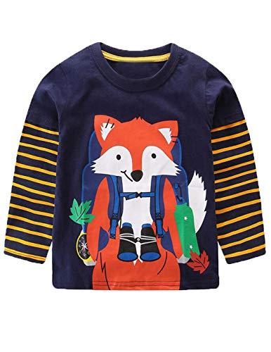Mengmeng Baby Boy Sweatshirt t Shirt Children Spring Autumn Long Sleeve Tops Boys Clothes Striped Kids Dinosaur Fox T-Shirts