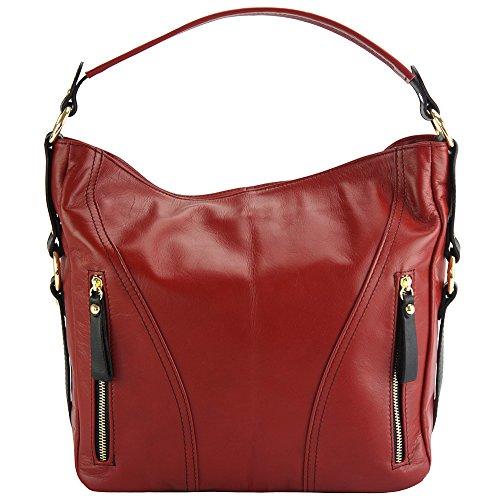 Hombro Florence En 3020 Rojo Leather De Market Bolso Sabrina negro Gm Al Cuero Becerro IfATZ