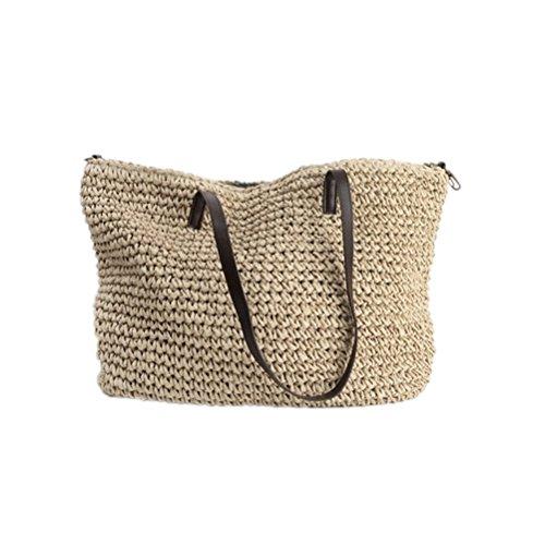 Kimiyar Summer Women Durable Weave Straw Beach Linen Woven Bucket Grass Casual Tote Handbags Rattan Bags Hobos
