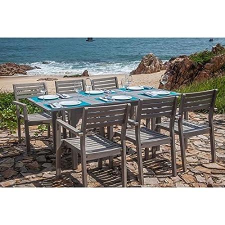Finlandek Rectangular Garden Dining Set 6 Chairs In Acacia Heleä