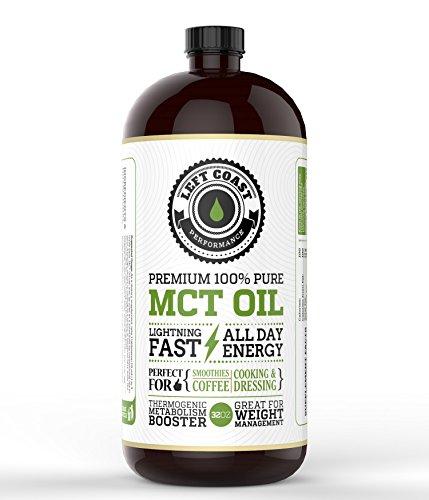 Left Coast Performance huile MCT, Huge 32 Oz. Premium Blend est plus facile à absorber et à digérer. Utilisez cette huile MCT pur pour Bulletproof café, smoothies et des salades. Qualité pharmaceutique.