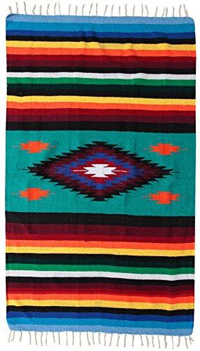 El Paso Designs Beautiful Blanket with Intricate Mexican Saltillo Diamond, Hand-Woven, Heavy Weight 6.7' x 4' (Puerto Vallarta)