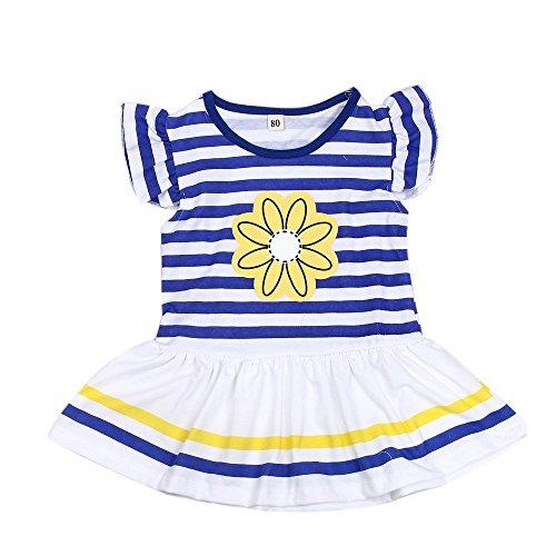 ❤️ Mealeaf ❤️ Kids Girls Daisy Flower Stripe Shirt Top Bow Pant Set Clothing(1-8 Years )