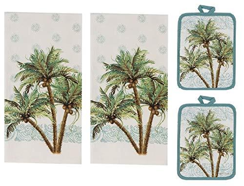 Kay Dee Designs 4 Piece Key West Kitchen Bundle - 2 Flour Sack Towels and 2 Potholders