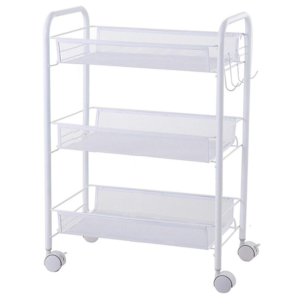Three-tier shelf 4-Layer Kitchen Storage Cart Metal Mute Caster Mobile Bedroom Storage Rack White with Hook Bathroom Cart