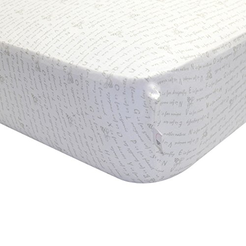 Burt's Bees Baby - Alphabet Bee Fitted Crib Sheet, 100% Organic Crib Sheet for Standard Crib and Toddler Mattresses (Heather (Alphabet Cotton Crib)