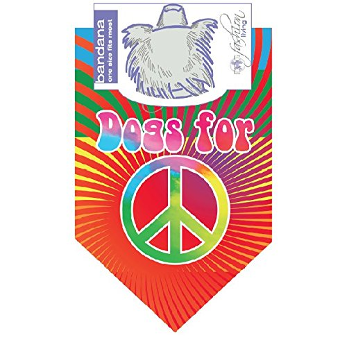 Dog Fashion Living- Dogs For Peace Colorful Dog Bandana -