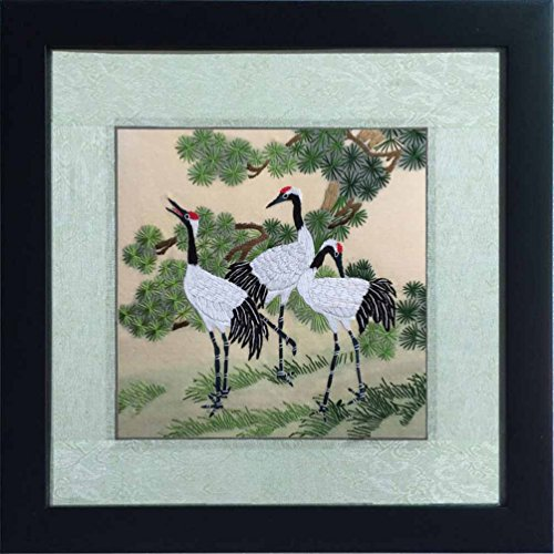 Silk Art 100% Handmade Su Embroidery Framed 1212 inch , Crane Playing on the Grass Painting Gift Oriental Feng Shui Wall Art Decor Artwork Cool Gift SilkArt028 (Oriental Crane)