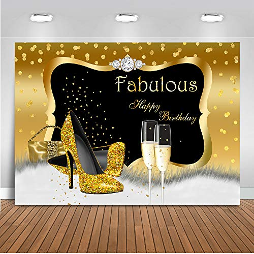 Mocsicka Fabulous Birthday Backdrop 7x5ft 30th 40th 50th