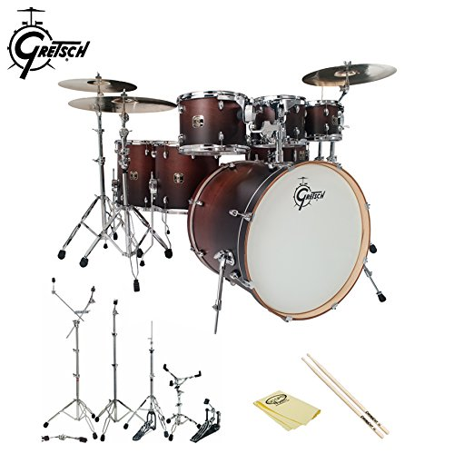 Gretsch-CMT-E826P-SWF-Catalina-Maple-Satin-Walnut-Fade-7-Pc-Shell-Pack-with-Hardware-ChromaCast-5A-Drumsticks-and-GoDpsMusic-Polish-Cloth