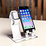 ipad 1 skin - Desktop iPhone Charging Stand 2 in 1, Charging Station Holder for iPhone 8x 7 6s Plus Apple iWatch Series 1/Series 2(38mm 42mm) iPad, Charging Dock for Smartphone Tablet and e-Readers (SLIVER)