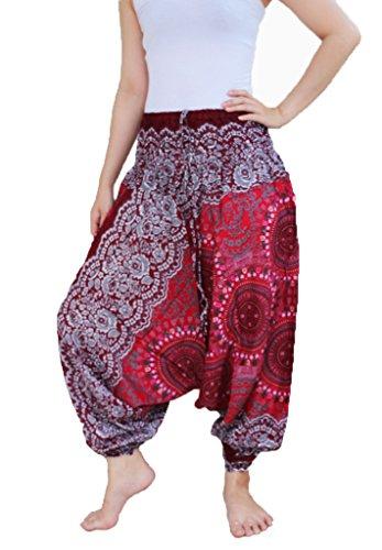 2 Plissettati Stile Modello 1 Donna Pantaloni Yaowaluck nbsp;in Aladino Red Tuta Harem Da 0aHZWU