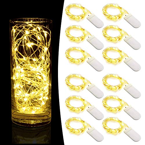 LED Starry String Lights,Pack of 12 Fairy Lights Battery Operated with 20 Micro LEDs on 6.6feet/2m Copper Wire. 2pcs CR2032, Works for Wedding Centerpiece,Party,Table Decorations(Warm White)