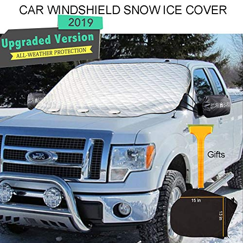 Car Windshield Snow Ice Cover,Windshield Frost Covers,Car Wiper Visor Frost Guard Protector,All Weather Summer Windproof Sun Shade for Cars/Trucks/Vans /SUV with Snow Shovel and Two Side Mirro Covers (Ice Windshield Anti)