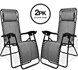KEPLIN Set of 2 Black Heavy Duty Textoline Zero Gravity Chairs | Garden Outdoor Patio Sun Loungers | Folding Reclining Chairs | Lounger Deck Chairs (GREY)