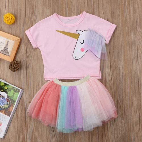 Lovely Lace Cotton Cartoon Kids Baby Girl Unicorn Top T-Shirt Tutu Skirt Outfits Set Clothes Summer Mon