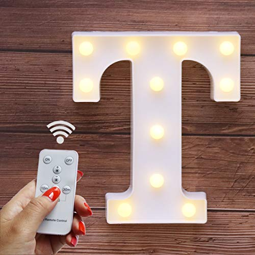Elnsivo LED Marquee Letter Lights 26 Alphabet Light Up Name Sign Remote Control Letter Lamp for Wedding Birthday Party Battery Powered Christmas Lamp Home Bar Decoration(Letter T-Remote -