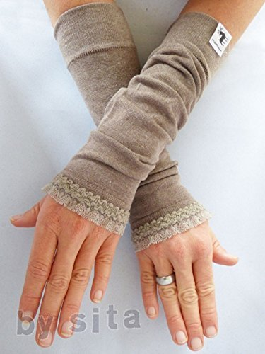Armstulpen, lang - hellbraun mit toller, elastischer Rüsche elastischer Rüsche