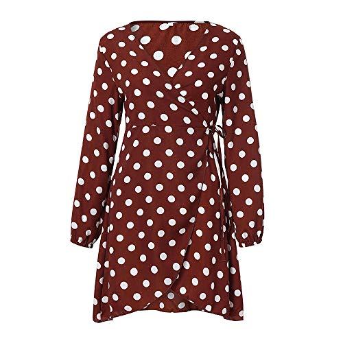 de Robe Robe V Manches Shirt Vin Maxi Femme Col Rouge Soire Longues Rouge Pois Manches Robe Longue Midi Polka 76Pw0Aq