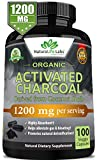 Organic Activated Charcoal Capsules - 1200mg Highly Absorbent Helps Alleviate Gas & Bloating Promotes Natural detoxification Derived from Coconut Shells - per Serving - 100 Vegan Capsules