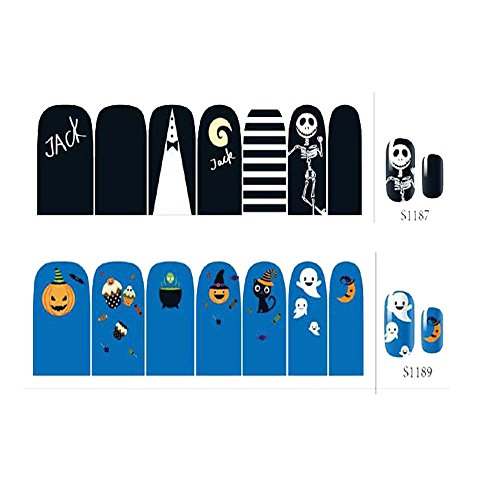 South Weekend Halloween Skull Bone Nail Art Sticker Watermark Tattoos Nail Art Tips 2018 (H)