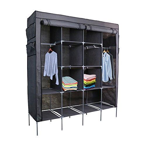 smart-home-69-clothes-closet-portable-wardrobe-clothes-storage-rack-12-shelves-4-side-pockets-grey-6