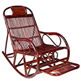 Home Rattan Rocking Chair, Retractable Pedals to Relax The Elderly Seat Recliner 624-YY (Color : Brown, Size : Simple)
