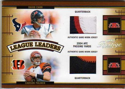 2005 Playoff Prestige League Leaders Jerseys Prime #LL26 David Carr Carson Palmer Marc Bulger Aaron Brooks Jersey Card #'d/25