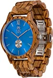 Wooden Watch For Men Maui Kool Kaanapali Collection Zebra Wood Watch Blue Face Bamboo Gift Box