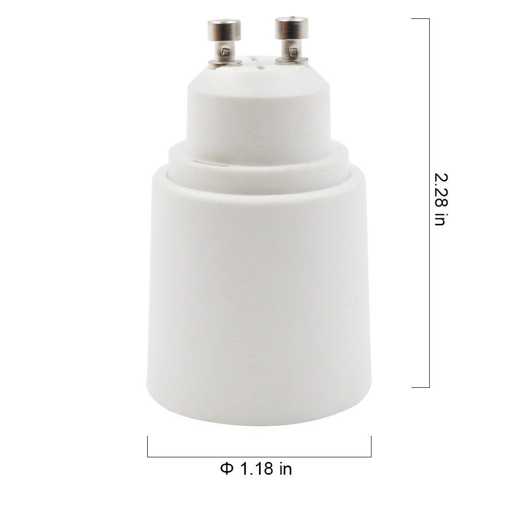 10-Pack Base to Medium Screw 200℃ Heat Resistant HiqLED GU10 to E27//E26 Adapter 2 Pin Bayonet E26//E27 GU10 No Fire Hazard Base Lamp Socket Converter Maximum Wattage 1000W