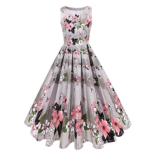 LesTT 1950s Retro Dress Floral Printed Hepburn Sleeveless Vintage Prom Dress for Women (Pink, XL) (Vintage 1950's Printed)