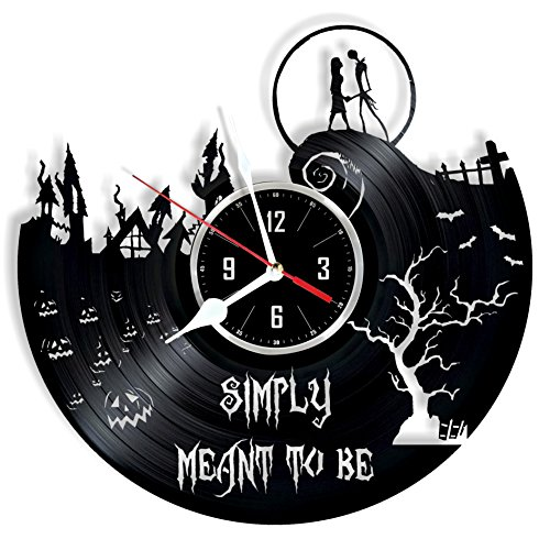 HMGift Nightmare Before Christmas Vinyl Wall Clock – Great Gift for Birthday, Anniversary or Any Other Occasion – Beautiful Home Decor – Unique Design That Made Out of Retro Vinyl Record