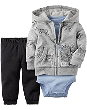 Carter's All Star 3 piece clothing set in Grey, Black & Light Blue