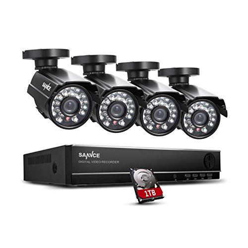ANNKE Überwachungssystem CCTV Videoüberwachung 4CH 720P DVR Recorder mit 1 TB Festplatte plus 4 Überwachungskameras 700 TVL wetterfest Nachtsicht 20-30 Meter für innen und außen Überwachung
