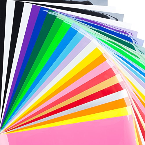 Bright Idea Premium Heat Transfer Vinyl Bundle, 10 x 12 HTV 23 Pack of Multicolor Iron on T-Shirt Sheets for Silhouette Cameo, Cricut and Heat Press