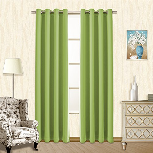 Vangao Grass Green Blackout Curtains 52x95 Inch 2 Panels Bedroom Darkening Thermal Insulated Solid Grommet Top Drapes/Panels for Kids/Living Room - Glass Green Panel