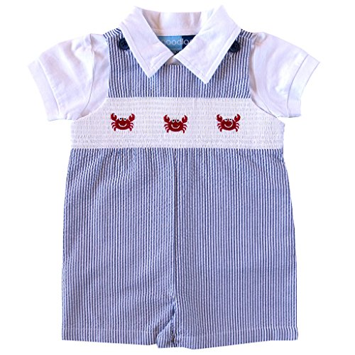Good Lad Newborn/Infant Boys Smocked Shortall Set With Crab embroideries (3/6M) (Smocked Clothes)