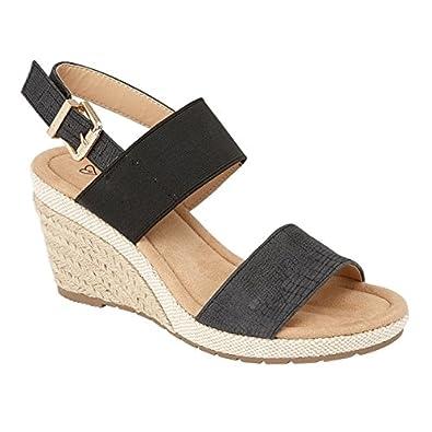 178d0b8d1c3279 Shumo ORANGE GROVE Ladies Elasticated Wedge Heel Sandals Black UK 8 ...