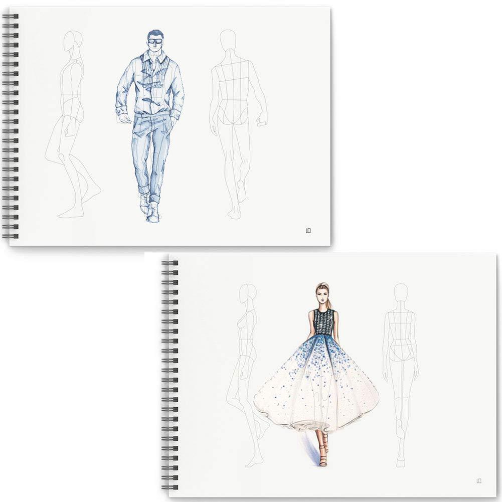 Mocohana Costume Designer S Sketchbook Fashion Design Notebook With Figure Templates Female Male Amazon In Home Kitchen
