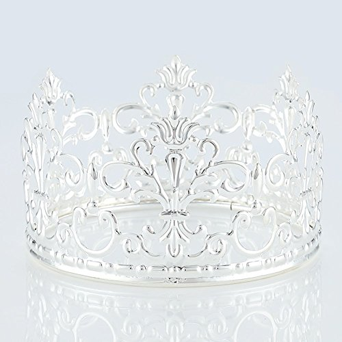 HYOUNINGF Gold Crown Cake Topper Elegant Cake Decoration For King, Queen, Prince And Princess Themed Parties, Royal Birthday Cake Decoration (silvery)