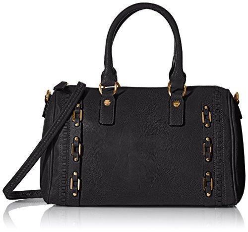 MG Collection Bowler Tote Bag, Black, One (Bowler Handbag Bag)