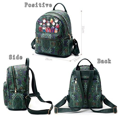 G-AVERIL GA1051-Z - Bolso mochila  para mujer Morado morado Large verde