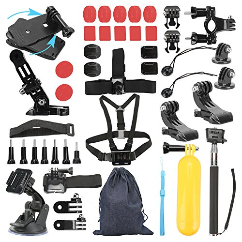 Basic Pro - Outdoor Sports Accessories Kit for GoPro Hero Black Silver 5/4/3+/3/2/1 SJ4000 SJ5000 SJ6000, Accessories for Action Video Cameras Xiaomi Yi/ WiMiUS/ Lightdow/ DBPOWER/
