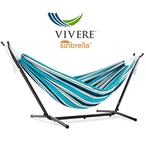 Vivere Double Sunbrella Hammock with Space Saving Steel Stand, Token Surfside (450 lb Capacity - Premium Carry Bag Included) (Frame Patio Steel Cover)