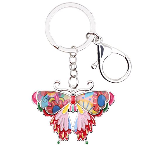 Enamel Metal Butterfly Key chains For Women Girls Gifts Car Purse bag Rings Pendant Charms ()