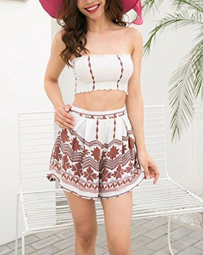 Vacanza Beach Estivi Casual Shorts Crop Bandeau BOLAWOO Moda Donna Top Larghi Floreale Stampati Chic Bianco Pantaloncini Due Elegante Pezzi E UFddTw