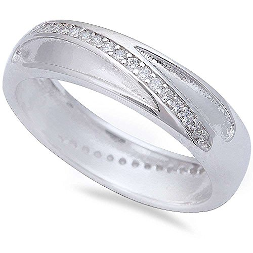 Men's Cz Wedding Engagement Band .925 Sterling Silver Ring Sizes 8-11 (12)