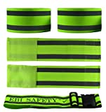 Premium Reflective Ankle Band & Belt Set (4 Bands + 1 Waist Belt). High Visibility Reflective Running Gear. Use for Armbands, Wristbands, Ankle Straps. Increased Safety for Jogging, Cycling, Walking