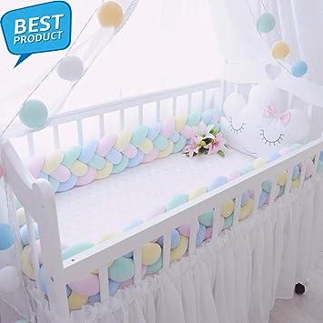 1PCS Baby Crib 2m Bumper Knotted Braided Plush Nursery Cradle Decor Newborn Gift Pillow Cushion Junior Bed Sleep Bumper White Gray Pink